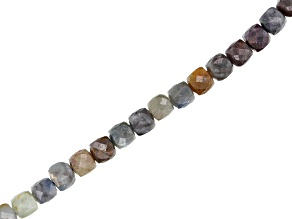 Multi-Color Sapphire Faceted Diamond Cut appx 6mm Cube Bead Strand appx 15-16""