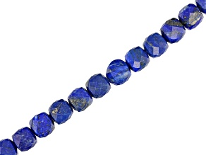 Lapis Lazuli Faceted Diamond Cut appx 8mm Cube Bead Strand appx 15-16""