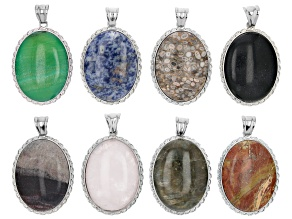 Multi-Gemstone Oval Focal appx 40x30mm Pendants with Bail Set of 8