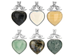 Multi-Gemstone Focal Heart Pendant appx 43X33mm with Bail appx 10X7mm in Silver Tone Set of 6