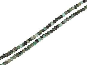 "Sakota Emerald Faceted Rondelle Bead Strand Set of 2 appx 15-16"""
