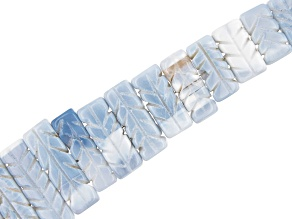 """Carved Blue Opal & Gray Chalcedony Mix Rectangle appx 12x8-34x8mm Shape Bead Strand appx 15-16"""""""