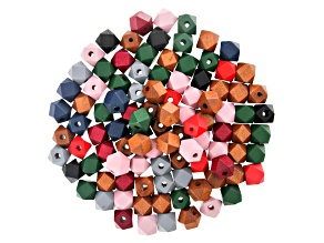 Wooden Octagon appx 12mm Beads in 8 Colors 100 Pieces Total