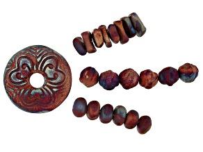 Raku Ceramic Matte Copper Glaze Donut Focal Pendant & 3 Bead Strands in Assorted Shapes