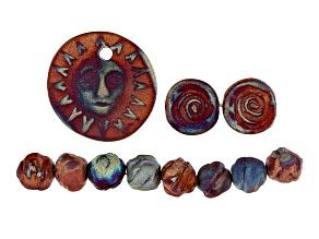 Raku Ceramic Matte Copper Glaze Summer Solstice Focal Piece, 8 Small Nugget Beads & Earrings Set