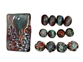 Raku Ceramic Shiny Turquoise Rectangle Focal Piece & 12 Beads in 3 Shapes