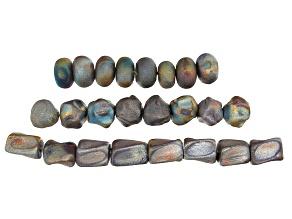 Raku Ceramic Galactic Glaze Beads in 3 Shapes 24 Beads Total