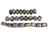 Raku Ceramic Galactic Glaze Beads in 3 Shapes 24 Beads Total