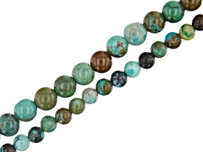 """Hubei Green Turquoise Round appx 3-4mm Bead Strand Set of 2 appx 15-16"""""""