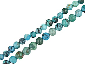 """Hubei Turquoise in Matrix Round appx 3-3.5mm Bead Strand Set of 2 appx 15-16"""""""
