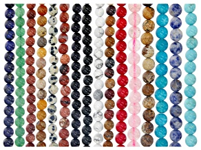 """Multi-Stone Round appx 6mm Bead Strand Set of 16 appx 15-16"""""""
