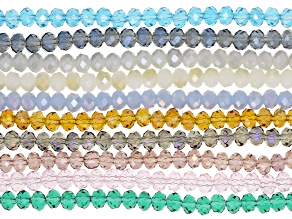 """Chinese Crystal Glass Faceted appx 6mm Rondelle Bead Strand Set of 10 in Assorted Colors appx 15-16"""""""