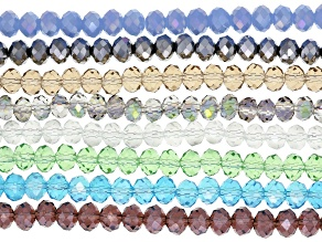 """Chinese Crystal Glass Faceted appx 8mm Rondelle Bead Strand Set of 8 in Assorted Colors appx 15-16"""""""