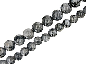 """Larvikite Round appx 8-10mm Large Hole Bead Strand Set of 2 appx 8"""""""