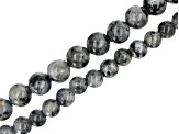 Larvikite Round appx 8-10mm Large Hole Bead Strand Set of 2 appx 8""