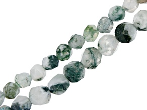 Moss Agate Rhombus Cut Off Round appx 6-8mm Shape Bead Strand appx 15-16""