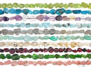 Set of 10 Multi-Gemstone Nugget Bead Strand appx 15-16""