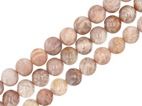 Peach Moonstone, Sunstone & Feldspar Mix Round appx 10mm Bead Strand Set of 3 appx 15-16""