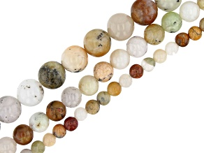Golden Sage Agate Round appx 4-8mm Bead Strand Set of 3 appx 15-16""
