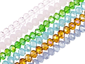 """Picture of Chinese Crystal Glass Faceted appx 4mm Rondelle Bead Strand Set of 6 in Assorted Colors appx 15-16"""""""