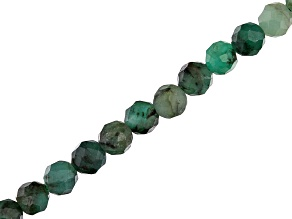 Brazilian Emerald Faceted appx 3mm Round Bead Strand appx 15-16""
