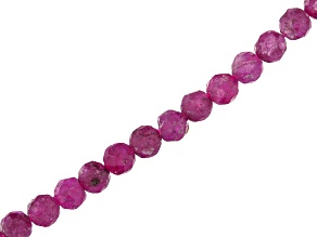 Ruby Faceted appx 3-3.5mm Round Bead Strand appx 15-16""