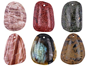 Multi-Stone Focal Free-Form Pendant Set of 6