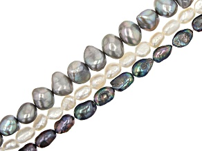 Cultured Freshwater Pearl Bead Strand Set of 3 in 3 Colors