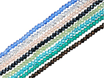 Picture of Chinese Crystal Glass Faceted appx 3x2-3.5x2.5mm Rondelle Bead Strand Set of 8 in Assorted Colors