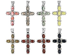 Multi-Stone Cross Shape appx 53x34mm Focal Pendant Set of 8 in Assorted Stones & Silver Tone Bail