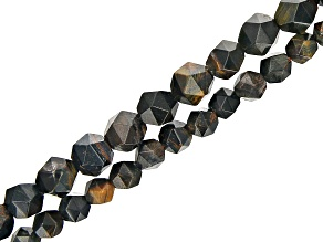 """Iron Color Tigers Eye & Hawks Eye Mix Faceted appx 6-8mm Off-Round Bead Strand Set of 2 appx 14-15"""""""
