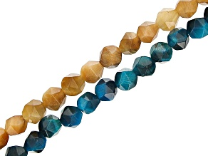 """Teal & Golden Color Tigers Eye Faceted appx 6mm Off-Round Bead Strand appx 14-15"""""""