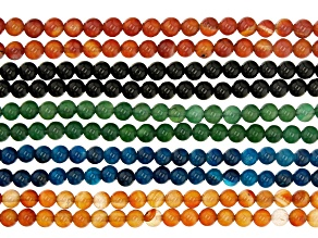 """Onyx, Agate & Carnelian Round appx 6mm Bead Strand Set of 10 in 5 Colors appx 14-15"""""""