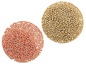 Lightweight Electroform Round High Polish Beads in Gold Tone & Rose Gold Tone 2,000 Pieces Total