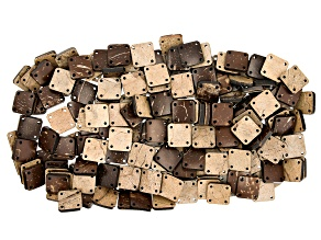Coconut Shell appx 18x14mm Diamond Shape Beads with 4 Corner Drilled Holes 200 Pieces Total