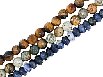 """Picture of Rocky Butte Jasper, Sodalite & Tigers Eye Bead Faceted Large Hole Strand Set of 3 appx 8"""""""