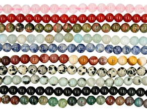 """Multi-Stone Round appx 6mm Bead Strand Set of 10 appx 13-14"""""""