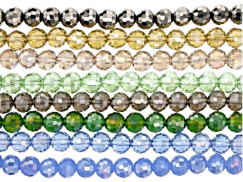 """Picture of Chinese Crystal Glass Round appx 8mm Bead Strand Set of 8 in 8 Colors appx 15-16"""""""