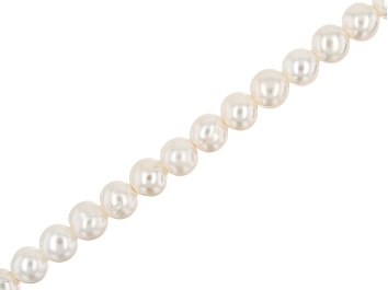 """Picture of White Cultured Freshwater Pearl Large Hole Potato appx 8-9mm Shape Bead Strand appx 7.5-8"""""""