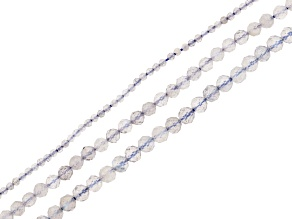 """Labradorite Faceted Round Bead Strand Set of 3 appx 15-16"""""""