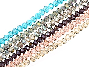"""Chinese Crystal Glass Faceted appx 6mm Rondelle Bead Strand Set of 6 in 6 Colors appx 15-16"""""""