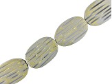 Wood Painted Silver And Gold Colors 30x20x6mm Carved Oval Bead Strand 15-16 inch