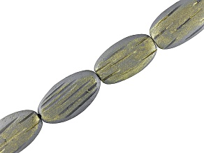 Wood Painted Silver And Gold Colors Approximately 25x14x6mm Carved Puffy Oval Bead Strand 15-16