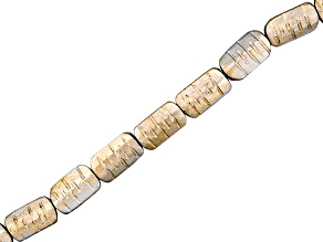 Wood Painted Silver And Gold Approximately 19x11x4mm Rectangle Carved Bead Strand 15