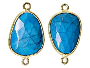 Set Of 2 Synthetic Turquoise Faceted And Sterling Silver With Gold Overlay Connectors