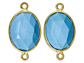 Set Of 2 Faceted Synthetic Turquoise And Sterling Silver With Gold Overlay Connectors
