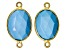 YouTube Only Turquoise Simulant gold tone over silver Connector 16x13-17x14mm