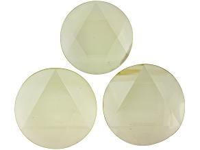 Set Of 3 Lemon Quartz Approximately 34-38mm Faceted Round Focal Beads, Not Drilled.