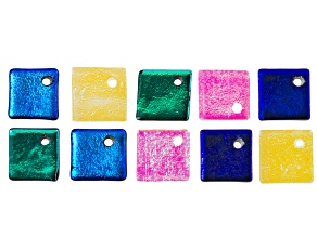 Set Of 10 Multicolor Glass Approximately 12mm Square Beads