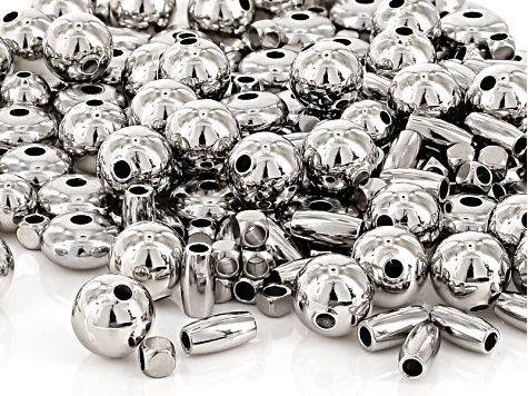 Metal Bead Set in Silver Tone Assorted Shapes And Sizes Appx 226 pieces Total